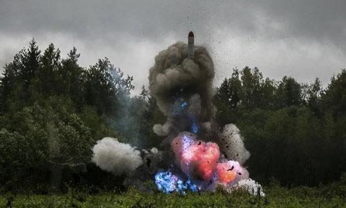 Tên lửa Iskander-K của Nga khai hỏa trong một vụ phóng thử năm 2017. Ảnh: BQP Nga.