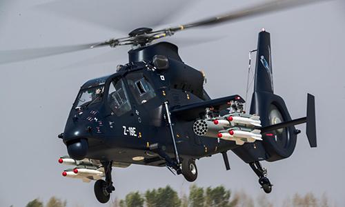 Trực thăng tấn công Z-19E bay thử nghiệm tại thành phố Cáp Nhĩ Tân, tỉnh Hắc Long Giang, Trung Quốc tháng 5/2017. Ảnh: Reuters.
