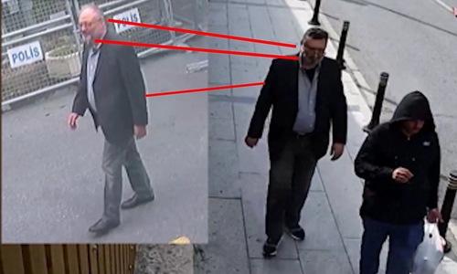 Nhà báo Khashoggi (trái) và đặc vụ al-Madani cùng xuất hiện trong ngày 2/10. Ảnh:CNN.