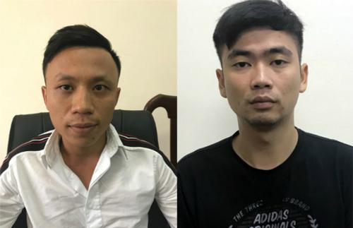 Trần Quang Nam và Ngô Xuân Tùng (từ trái qua) tại cơ quan điều tra. Ảnh. Cơ quan điều tra