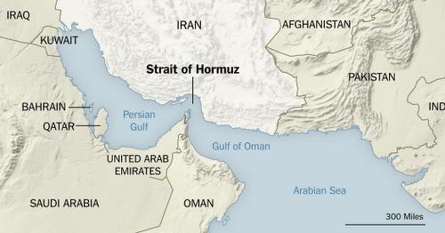 Vị trí Vịnh Ba Tư và eo biển Hormuz. Đồ họa: NYT.
