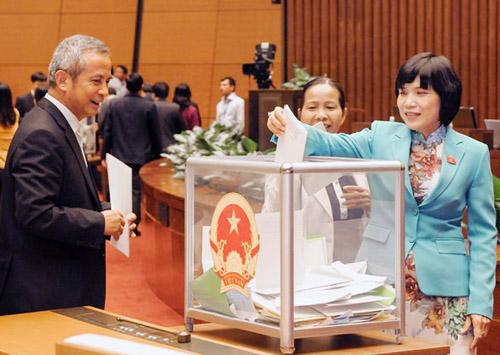 Các đại biểu Quốc hội bỏ phiếu tín nhiệm tại kỳ họp thứ 8 Quốc hội khoá XIII ngày 15/11/2014. Ảnh: QH.