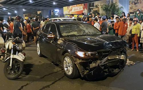 Chiếc xe BMW gay tai nạn. Ảnh: Sơn Hoà.