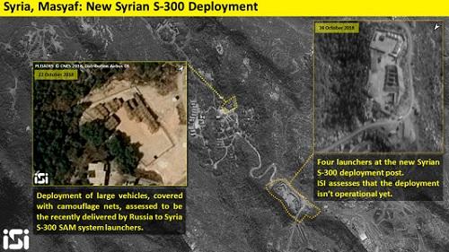 Ảnh vệ tinh chụp vị trí Syriatriển khai 4 bệ phóng S-300. Ảnh: ISI.