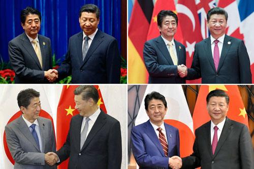 Thủ tướng Nhật Shinzo Abe và Chủ tịch Trung Quốc Tập Cận Bình bắt tay vào các năm 2014, 2016, 2017, 2018 (theo chiều kim đồng hồ, từ ảnh trên bên trái). Ảnh: AFP.