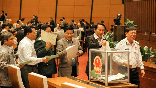 Đại biểu bỏ phiếu đánh giá mức độtín nhiệm các chức danh cho Quốc hội bầu và phê chuẩn sáng 15/11. Ảnh: Thanh Xuân.