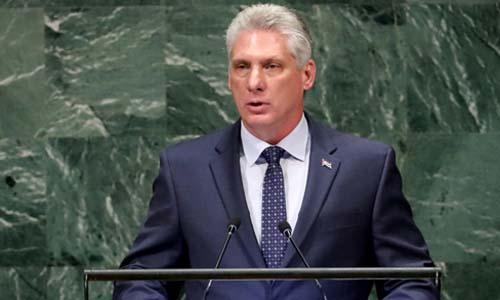 Chủ tịch Cuba Miguel Diaz-Canel Bermudez phát biểu trước Đại hội đồng Liên Hợp Quốc tại New York hôm 26/9. Ảnh: Reuters.