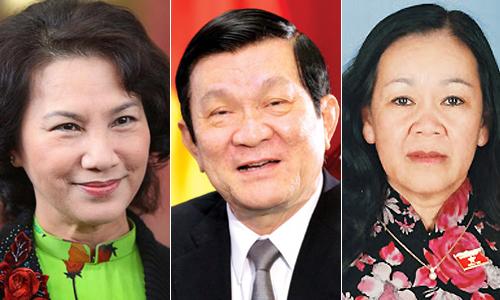 Ba vị lãnh đạo có số phiếu tín nhiệm cao gồm Phó chủ tịch Quốc hội Nguyễn Thị Kim Ngân, Chủ tịch nước Trương Tấn Sang và Chủ nhiệm Ủy ban các vấn đề xã hội Trương Thị Mai.