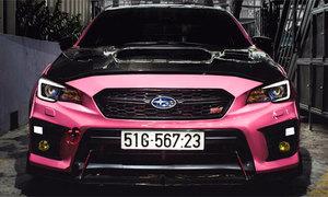 Subaru Impreza độ hầm hố, sơn màu hồng ở Sài Gòn