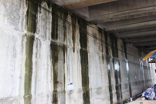 Mố cầu OP10 ở Km41+235 nước mưa chảy xuống nhiều chỗ. Ảnh: Sơn Thủy.