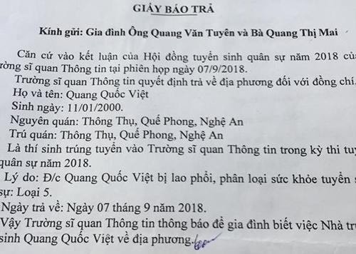 Thông báo của trường Sĩ quan Thông tin kết luận thí sinh Quang Quốc Việt bị lao phổi. Ảnh: PV.