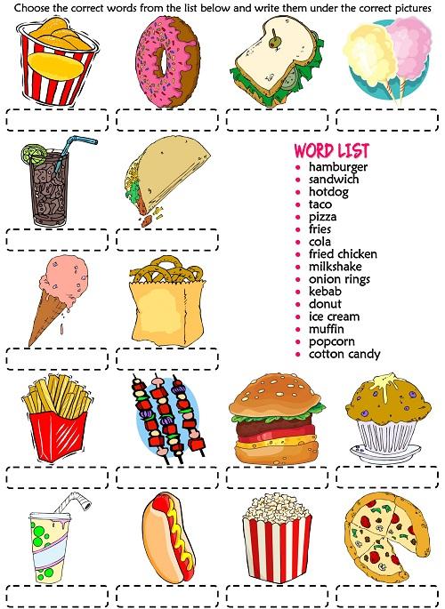 Bài tập ghép từ vựng với hình ảnh đồ ăn