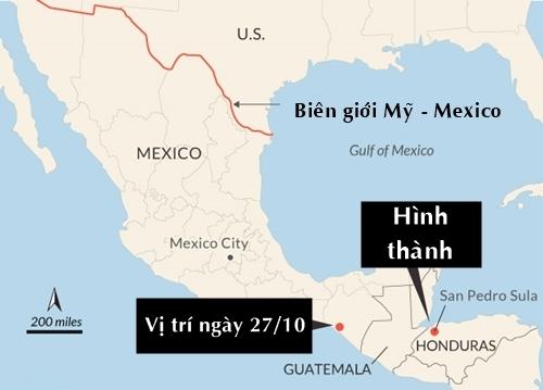 Đoàn người từ Honduras đi qua Guatemala và Mexico để đến Mỹ. Đồ họa: CNN.