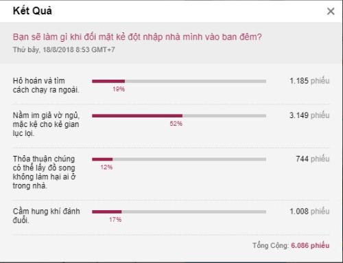 Hơn 52% độc giả VnExpress chọn phương án Nằm im giả vờ ngủ, mặc kệ cho kẻ gian lục lọi. Ảnh chụp màn hình