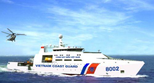 Tàu Vùng 2 Cảnh sát biểntuần tra trên biển chống đánh bắt bất hợp pháp. Ảnh: Vùng 2 Cảnh sát biển cung cấp.