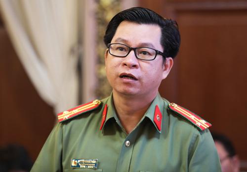 Thượng tá Nguyễn Quang Thắng, Phó phòng Tham mưu, Công an TP HCM. Ảnh: Thành Nguyễn