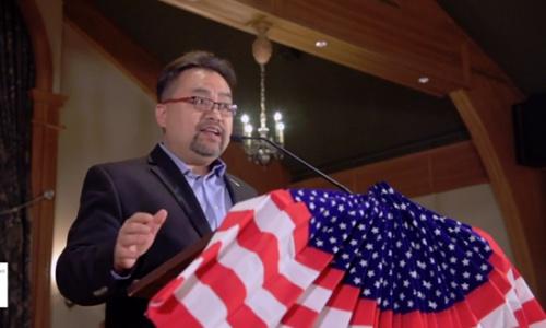 Ông Savio Phạm trong buổi vận động tranh cử hôm 21/10. Ảnh: NVCC.