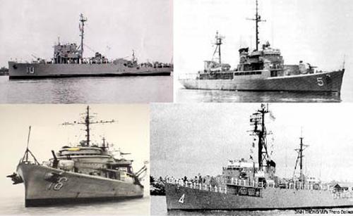 Bốn chiến hạm của Việt Nam Cộng hoà tham gia hải chiến Hoàng Sa năm 1974. Ảnh tư liệu.