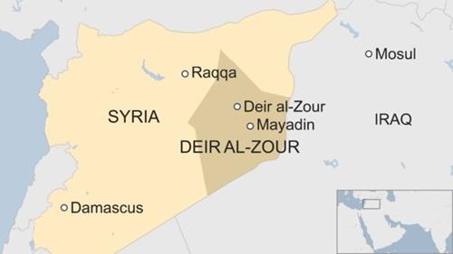 Vị trí tỉnh Deir al-Zour, Syria. Ảnh: BBC.