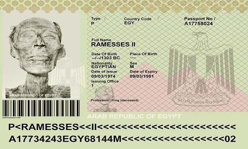 Hộ chiếu có ảnh pharaohRamesses II. Ảnh: Ancient Origins.
