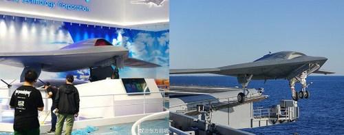 UAV Trung Quốc (trái) và mẫu X-47B của hải quân Mỹ. Ảnh: Aviationist.