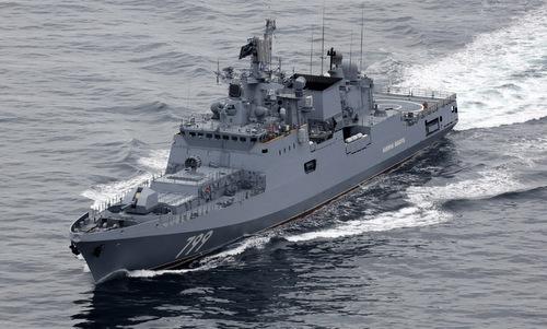 Tàu hộ vệ Đô đốc Makarov ngoài khơi nước Anh hồi tháng 8/2018. Ảnh: Bộ Quốc phòng Anh.