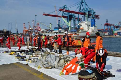 Nhân viên cứu hộ Indonesia sắp xếp mảnh vỡ máy bay gặp nạn của Lion Air tại cảng Tanjung Priok, Jakarta hôm 29/10. Ảnh: Reuters.