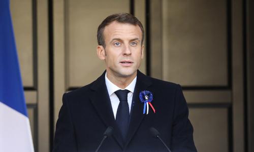 Tổng thống Pháp Emmanuel Macron phát biểu tại Les Eparges, phía đông nước Pháp hôm nay. Ảnh: AFP.