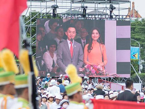 Thu Hằng dẫn chương trình tại một sự kiện lớn của Đài Loan tháng trước. Ảnh: Nhân vật cung cấp