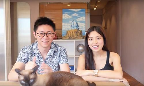 Thu Hằng và John Li trong một video trên kênh HangTV.