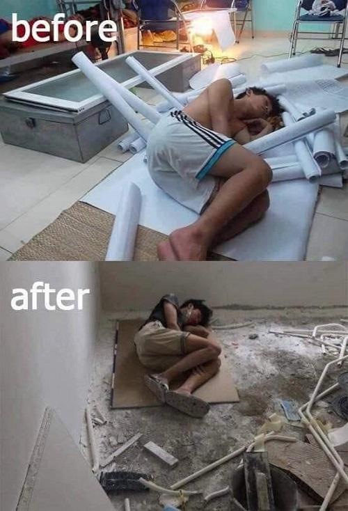 Sinh viên trước và sau khi ra trường.