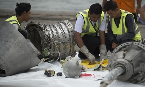 Mảnh vỡ của máy bay Boeing 737 MAX 8 rơi ngày 29/10. Ảnh: AFP.
