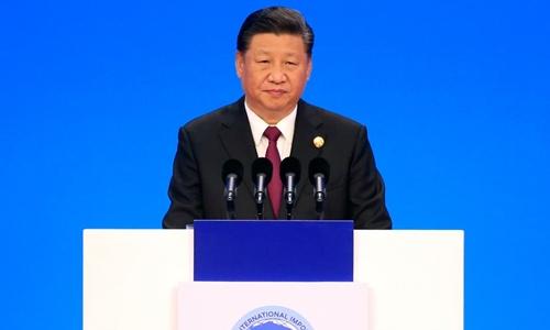 Chủ tịch Trung Quốc Tập Cận Bình ngày 5/11 phát biểu tại Thượng Hải. Ảnh: AFP.