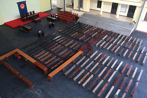 Phòng xử án rộng gần 1000 m2. Ảnh: Phạm Dự.