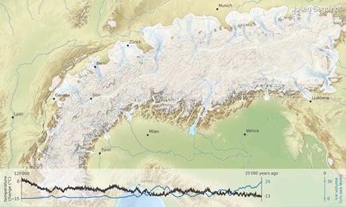 Các dòng sông băng mở rộng nhất vào khoảng 25.000 năm trước. Ảnh: ETH Zürich.