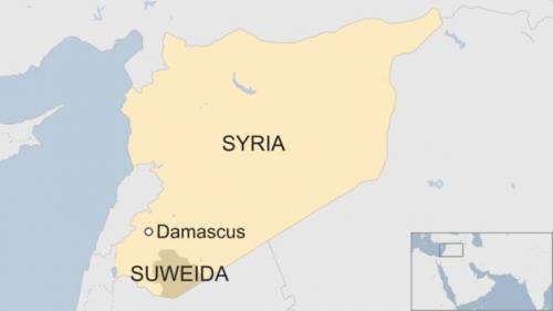 Vị trí tỉnh Suweida, miền nam Syria. Đồ họa: BBC.