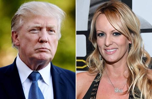 Tổng thống Mỹ Donald Trump (trái) và sao phim khiêu dâm Stormy Daniels. Ảnh: Peolple.