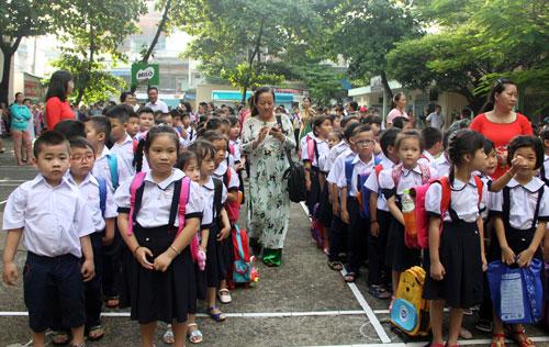 Học sinh trường Tiểu học Nguyễn Trọng Tuyển, quận Bình Thạnh, TP HCM. Ảnh: Mạnh Tùng.