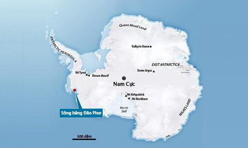 Vị trí sông băng Đảo Pine. Ảnh: NASA.