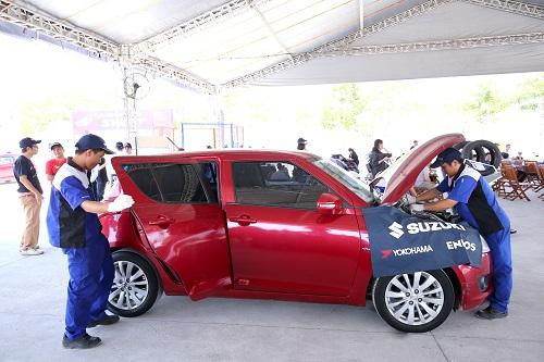 Các xe Suzuki Swift tham gia sự kiện được kiểm tra kỹ lưỡng 15 hạng mục bảo dưỡng từ kỹ thuật viên chuyên nghiệp.