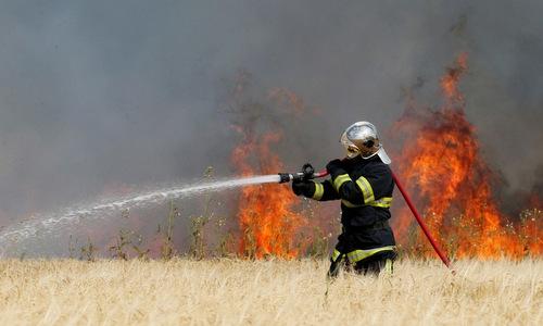 Lính cứu hỏa bang Texas chiến đấu với một đám cháy. Ảnh: Reuters.