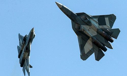 Hai tiêm kích Su-57 của Nga. Ảnh: TASS.
