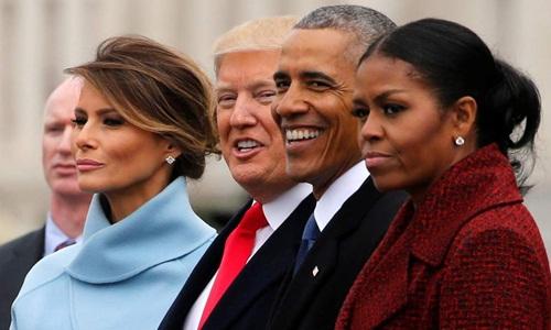 Cựu đệ nhất phu nhân Mỹ Michelle Obama (ngoài cùng bên phải) tại lễ nhậm chức tổng thống của Donald Trump ngày 21/1/2017. Ảnh: Reuters.