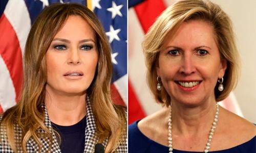 Đệ nhất phu nhân Mỹ Melania Trump (trái) và Phó cố vấn an ninh quốc gia Nhà Trắng Mira Ricardel. Ảnh:New York Post.