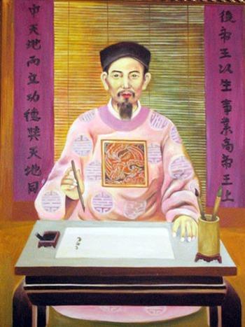 Tranh vẽ Chu Văn An. Ảnh: Bảo tàng Lịch sử Việt Nam
