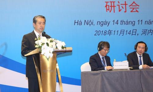 Đại sứ Trung Quốc tại Việt Nam Hùng Ba phát biểu tại Hội thảo ngày 14/11. Ảnh: Bộ Ngoại giao Việt Nam.