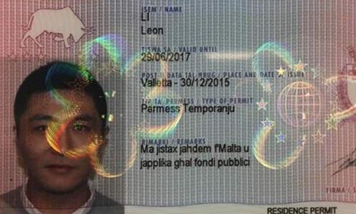 Cuốn hộ chiếu Malta được tìm thấy trong đồ đạc của Leon Li. Ảnh: South China Morning Post