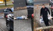 Bé ăn vạ bố vì không muốn đi bộ vào nhà ở Canada