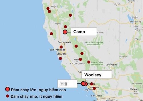 Vị trí các đám cháy rừng ở California. Ảnh: Business Insider.
