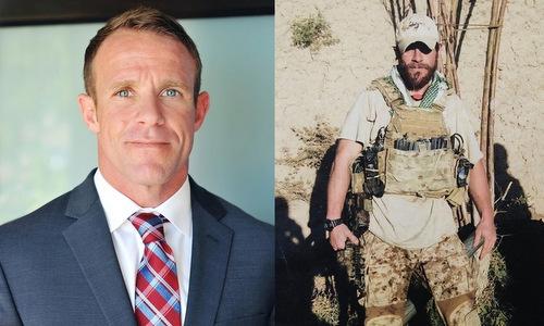 Edward Gallagher khi trở về Mỹ (trái) và chiến đấu tại Iraq (phải). Ảnh: Navy Times.